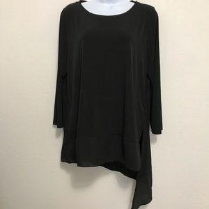 Womens IVANKA TRUMP Black Blouse w/Sheer Bottom